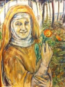 Hildegard von Bingen, gemalt von der Künstlerin Inge Brück