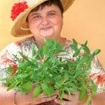 Grtnerin mit Salbeitpfchen