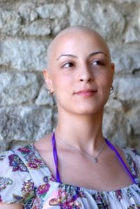Cancer patient with positive attitude during her treatment
